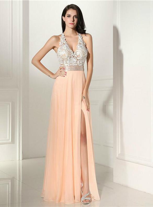 Chiffon Lace Deep V-neck Beading Prom Dress