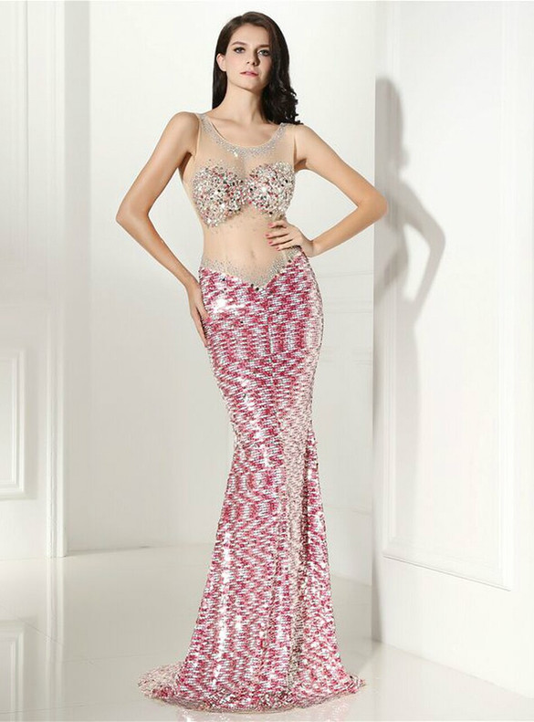 Sexy Pink Mermaid Sequins Illusion Prom Dress