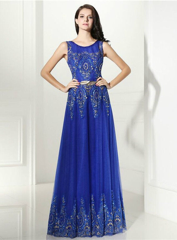 Royal Blue Tulle Sequins Beading Prom Dress