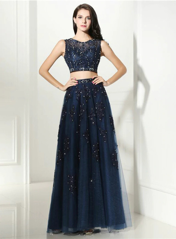 Navy Blue Tulle Lace Two Piece Beading Prom Dress