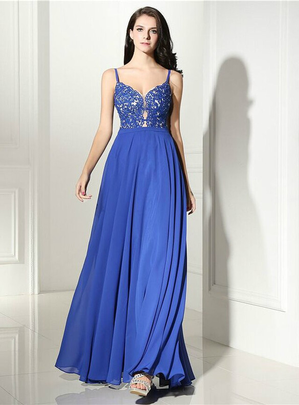 Royal Blue Chiffon Appliques Spaghetti Straps Prom Dress
