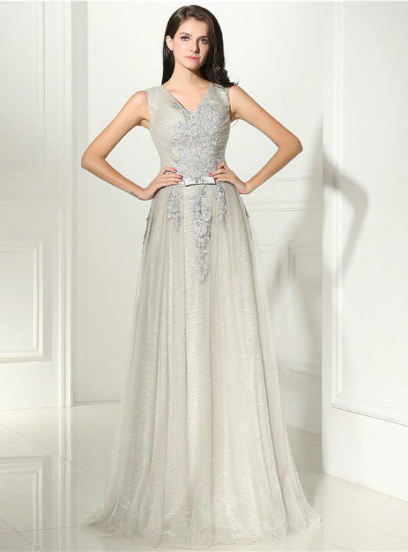 Gray Tulle Seuqins V-neck Appliques Prom Dress