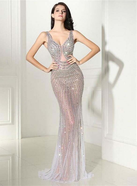 Sexy White Mermaid Tulle V-neck Crystal Prom Dress
