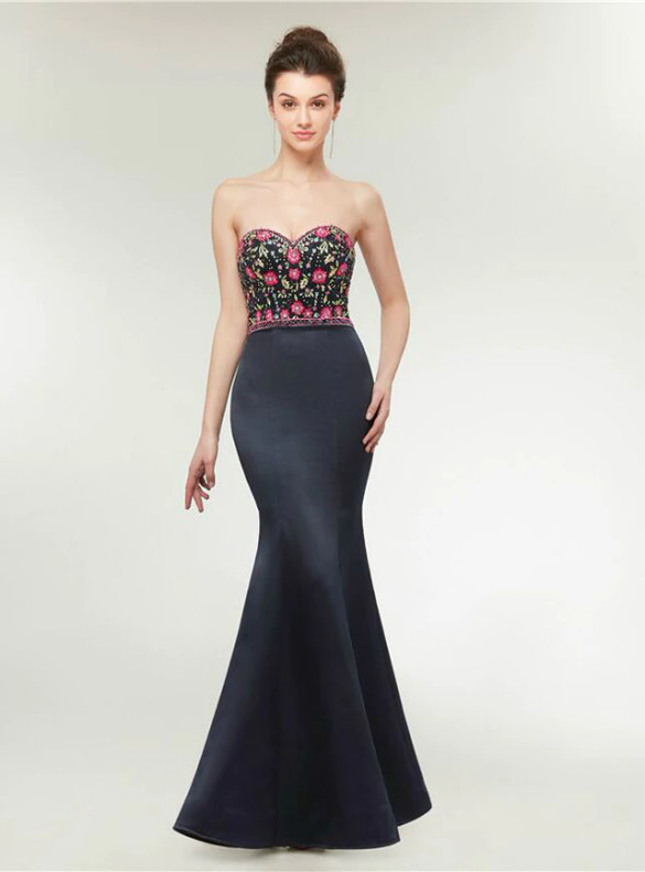 Black Mermaid Satin Spaghetti Straps Beading Prom Dress
