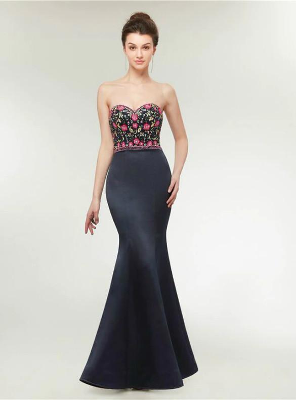 Black Mermaid Satin Spaghetti Straps Beading Prom Dress