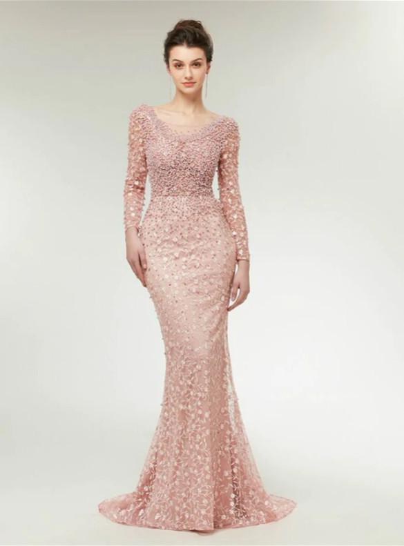 Pink Long Sleeve Mermaid Pearls Prom Dress