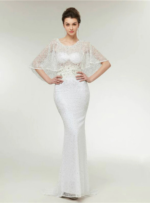 White Mermaid Beading Bat Sleeve Prom Dress