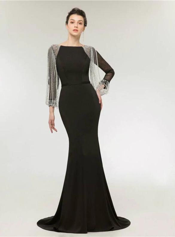 Black Mermaid Satin Tassel Beading Prom Dress
