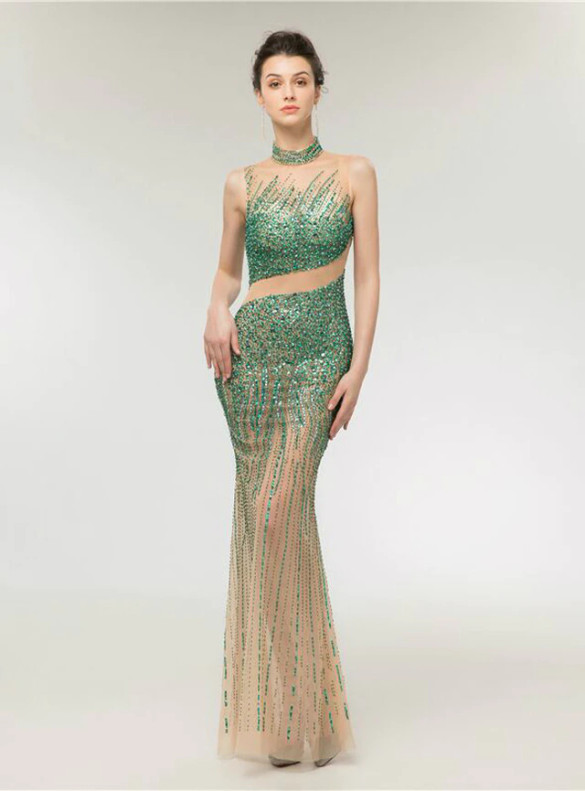 Champagne Tulle Green Beading Crystal Prom Dress