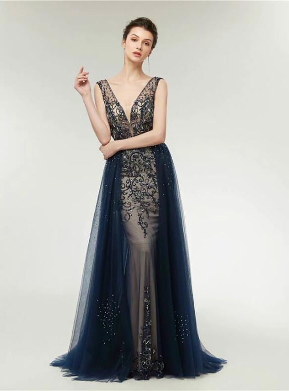 Navy Blue Tulle Beading Backless Prom Dress