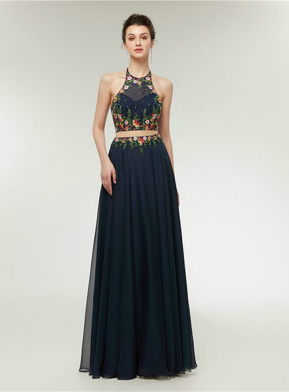Blue Chiffon Two Piece Embroidery Prom Dress