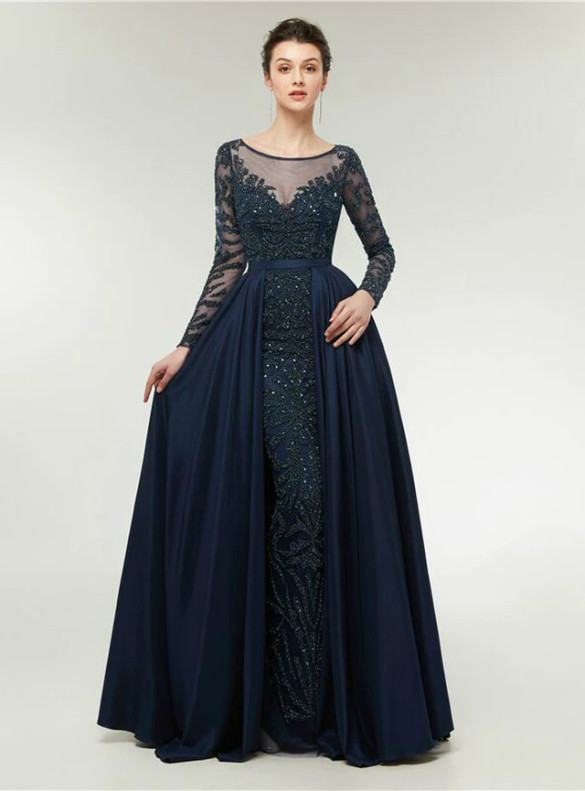 Navy Blue Satin Long Sleeve Beading Prom Dress