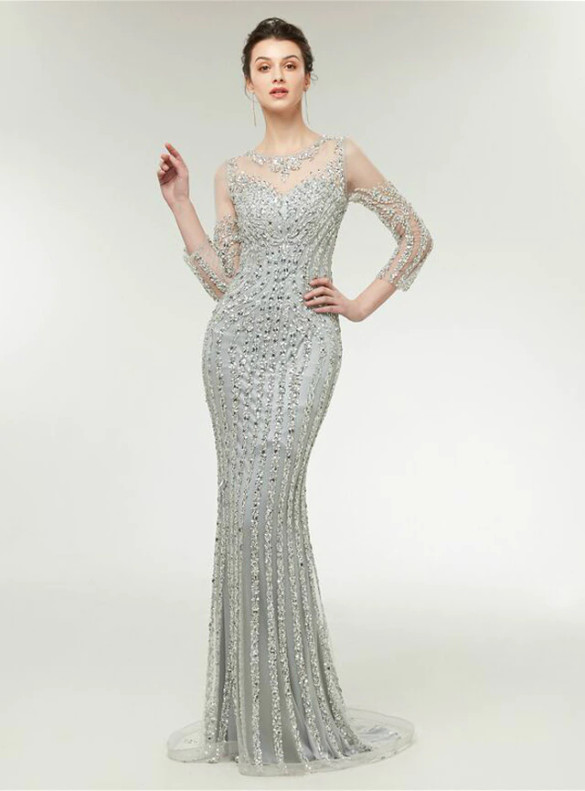 Silver Gray Mermaid Long Sleeve Beading Prom Dress