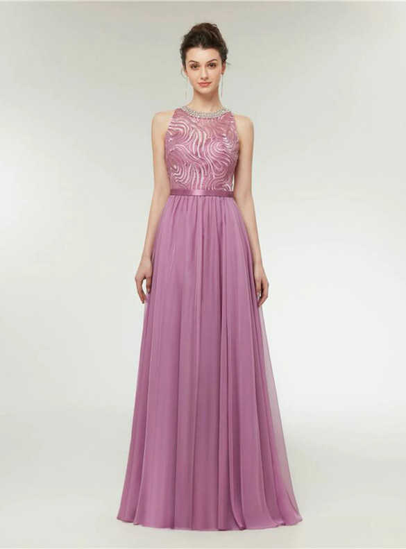 Pink Chiffon Beading Sleeveless Prom Dress
