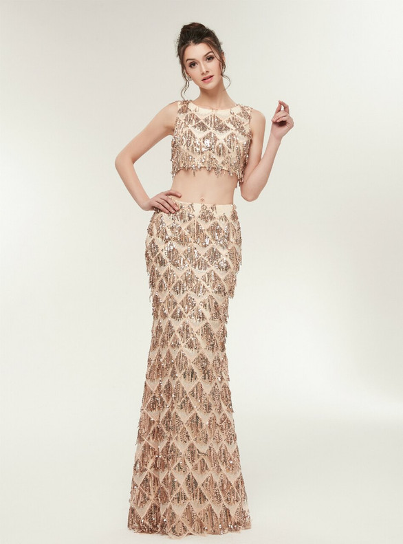 Gold Two Piece Sequins Sleeveless Prom Dress
