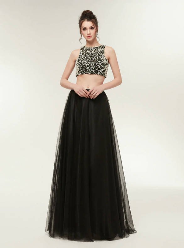 Blac Tulle Two Piece Pearls Backless Prom Dress