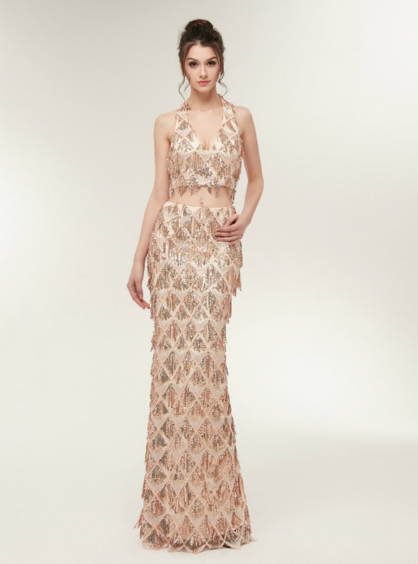 Gold Two Piece Sequins V-neck Prom Dress