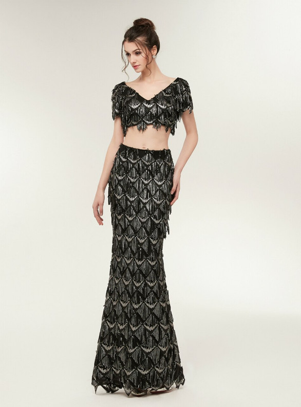 Black Two Piece Sequins V-neck Prom Dress