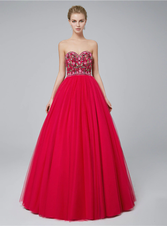 Red Tulle Embroidery Strapless Prom Dress