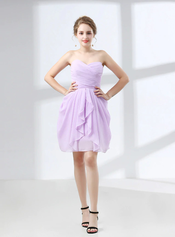 Lavender Chiffon Pleats Short Bridesmaid Dress
