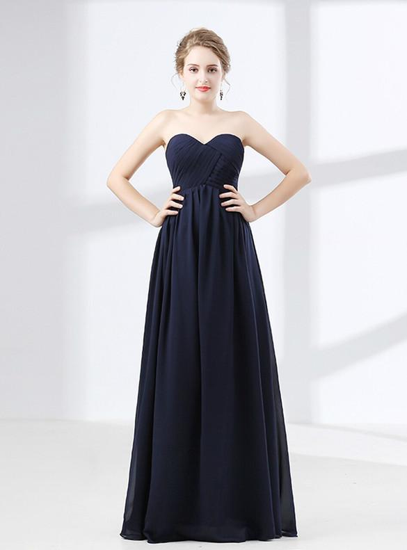 Navy Blue Chiffon Sweetheart Pleats Prom Dress
