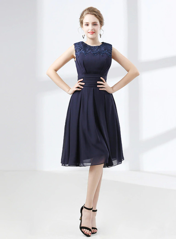 Navy Blue Chiffon Lace Pleats Bridesmaid Dress