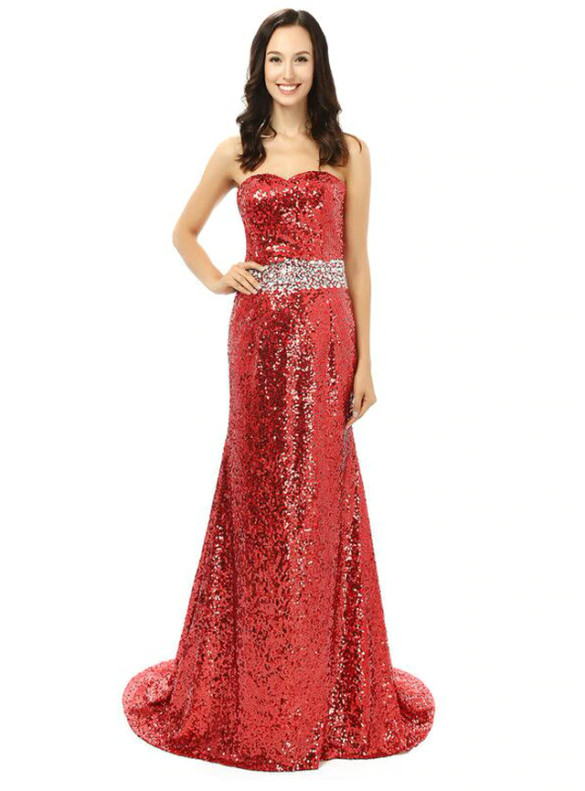 Red Sequins Mermaid Strapless Crystal Bridesmaid Dress