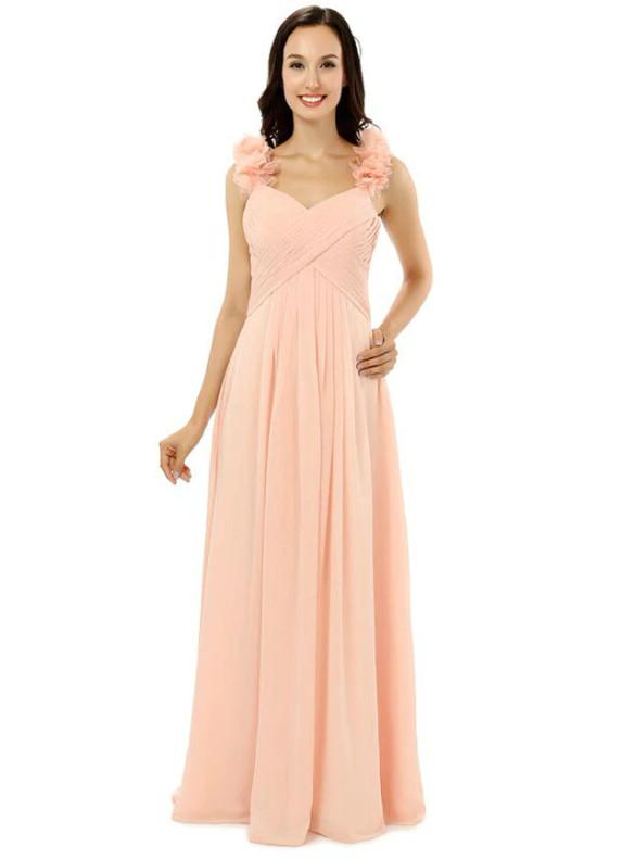 Pink Chiffon Pleats Handwork Flower Bridesmaid Dress