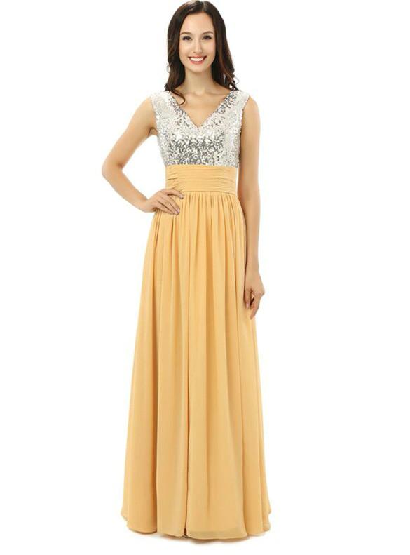 Silver Sequins Chiffon V-neck Bridesmaid Dress