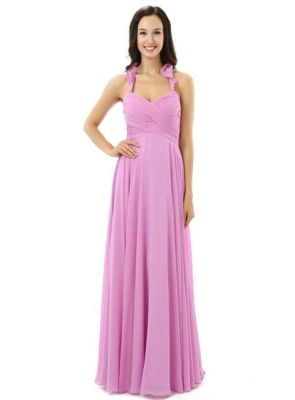 Purple Chiffon Pleats Halter Bridesmaid Dress