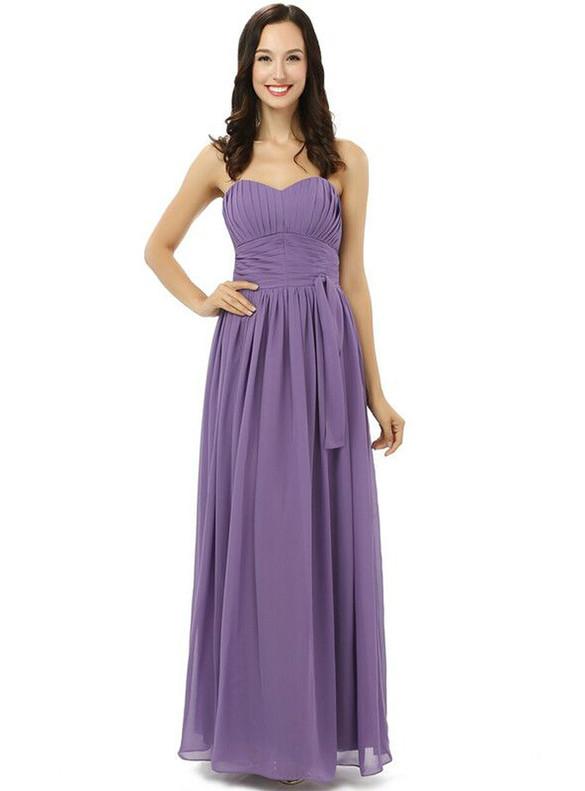 Purple Pleats Chiffon Strapless Bridesmaid Dress