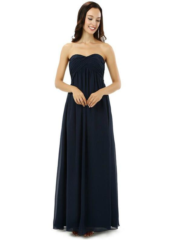 Navy Blue CHiffon Pleats High Waist Bridesmaid Dress