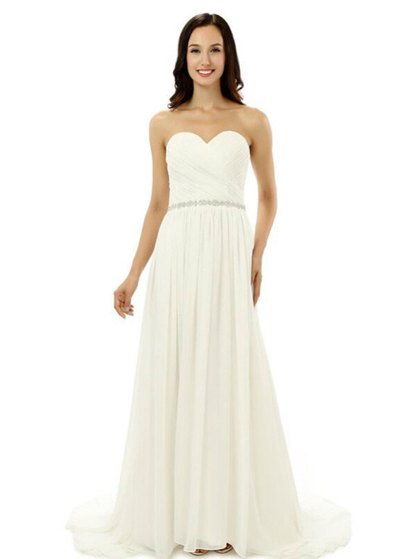 White Chiffon Strapless Pleats Beading Bridesmaid Dress