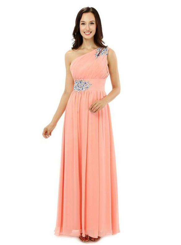 Pink Chiffon One Sholuder Crystal Pleats Bridesmaid Dress