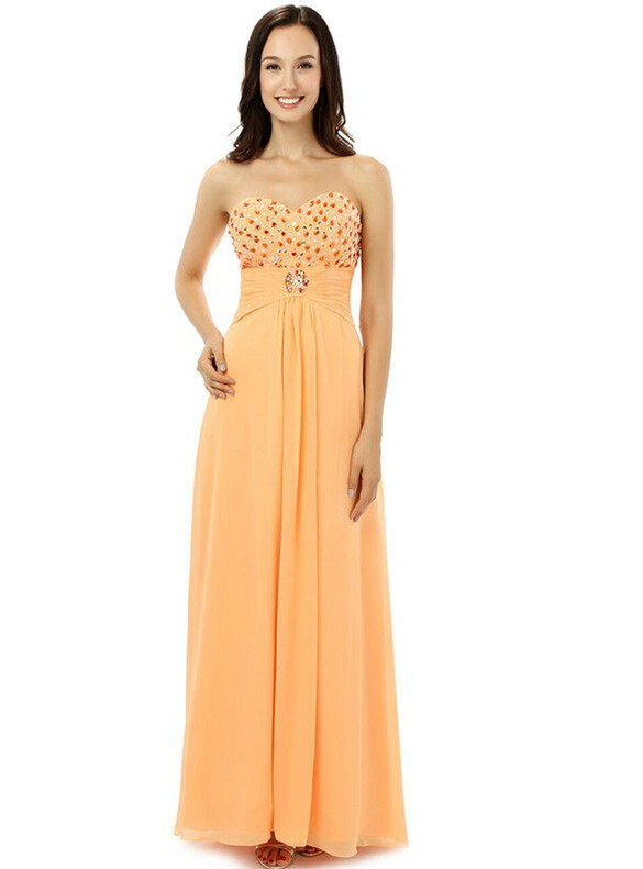 A-Line Chiffon Beading Strapless Bridesmaid Dress