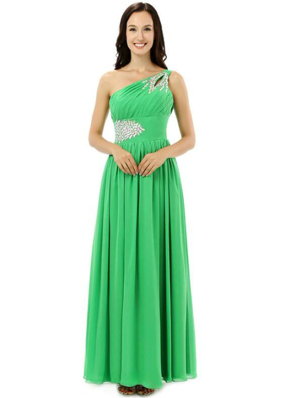 Green Chiffon One Shoulder Crystal Bridesmaid Dress