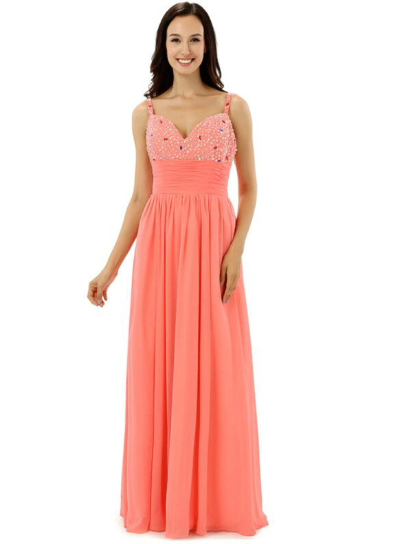 Chiffon Spaghetti Straps Pleats Beading Bridesmaid Dress