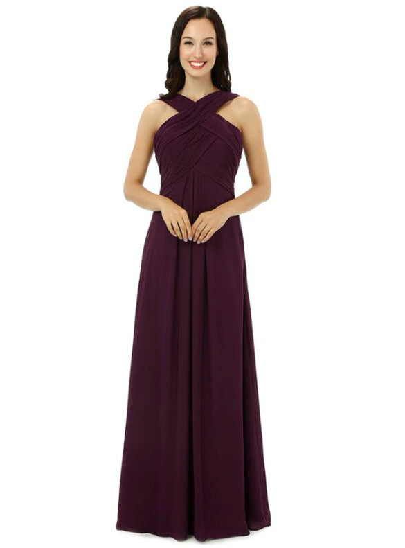 Burgundy Chiffon Pleats Long Bridesmaid Dress