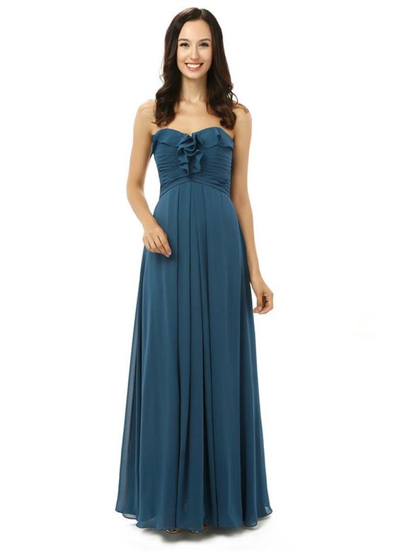 Navy Blue Chiffon Pleats Bridesmaid Dress