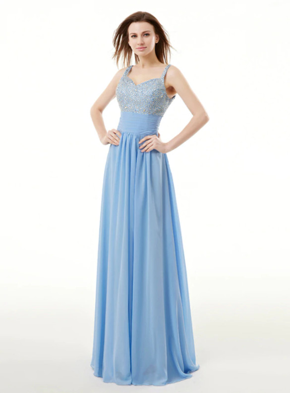 Blue Chiffon Straps Beading Sequins Bridesmaid Dress