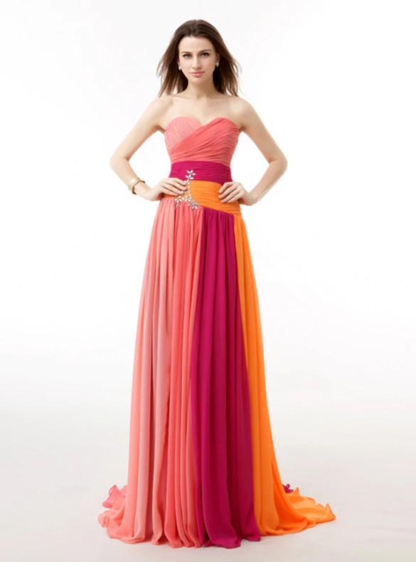 Colorful Chiffon Pleats Beading Bridesmaid Dress