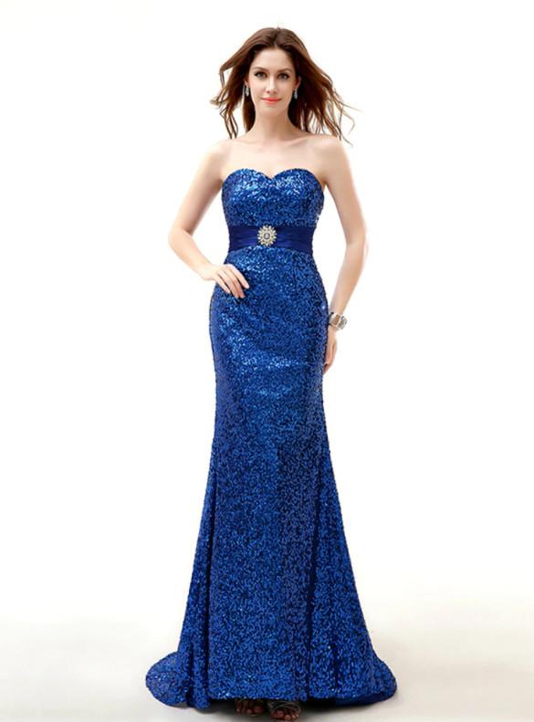 Mermaid Sequins Strapless Bridesmaid Dress Witn Belt