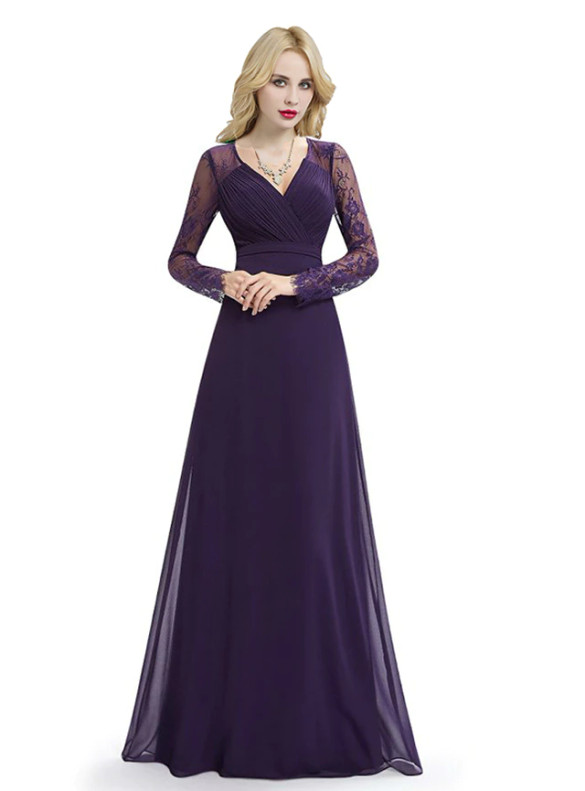 Dark Purple Chiffon Lace Long Sleeve Bridesmaid Dress