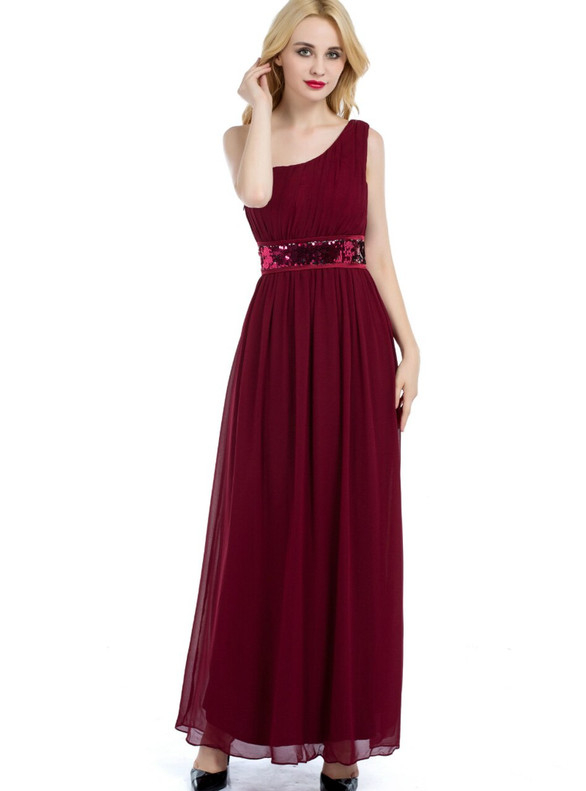 Burgundy Chiffon One Shoulder Sequins Bridesmaid Dress