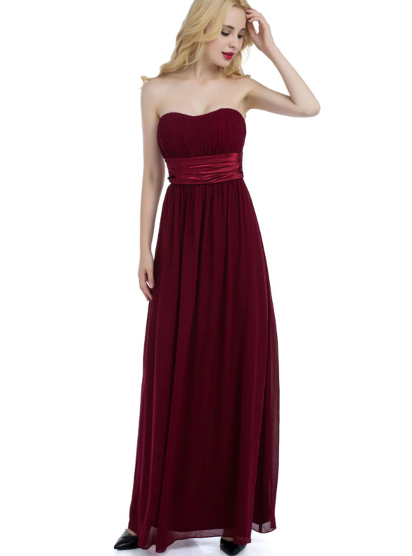 Burgundy Chiffon Pleats Strapless Bridesmaid Dress