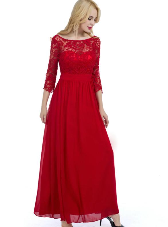 Red Lace Chiffon 3/4 Sleeve Bridesmaid Dress
