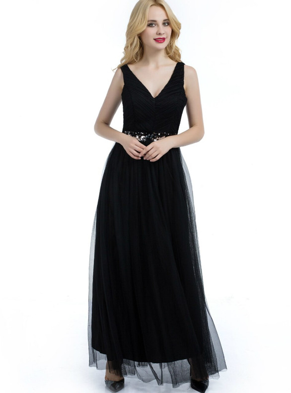 Black Tulle V-neck Sequins Pleats Bridesmaid Dress