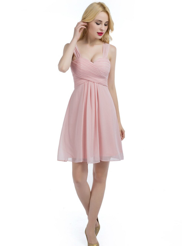 Pink STraps Chiffon Pleats Short Bridesmaid Dress