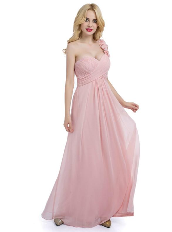 Pink Chiffon Pleats One Shoulder Bridesmaid Dress