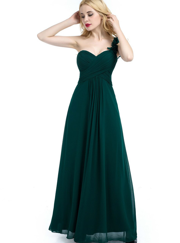 Green One Shoulder Chiffon Pleats Bridesmaid Dress